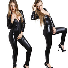 Sexy Catsuit Catwoman Wetlook PVC Bodysuit Overall Zip Leather Costume Romper