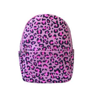 Women's Designer Style Canvas Leopard Print Backpack Girls Rucksack