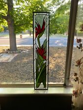 """Vintage Hanging Stained Glass Window Birds Of Paradise Red & Green 35"""" H 7"""" W"""