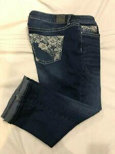 (*-*) LOVE INDIGO * Womens Stretch Capri Blue Jeans / Denim * Size 12