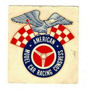 Vintage, AMERICAN MODEL CAR RACING CONGRESS DECAL (3 x 3-1/4 Inches)