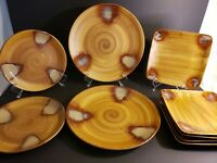 Sango Splash Brown Drip Plates Pattern 4951 2 Dinner, 2 Salad and 5 Rare Square