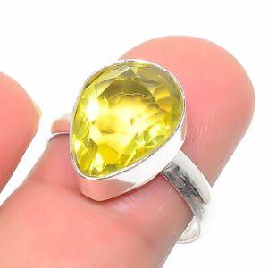 Citrine Gemstone Handmade 925 Sterling Silver Jewelry Ring Size 7.5