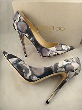 NIB Jimmy Choo Anouk Petal Floral Print Teal Leather Pointed Heel Pump 39 $675