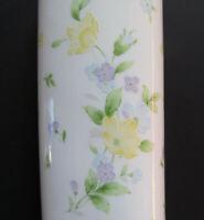 """Vintage 1993 FTD Porcelain Pastel Floral Bud Vase Made In Japan 6.5"""" Tall Oval"""