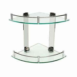 Bathroom Shelves,2 Tier Glass Shelves Wall Mounted with Stainless Steel