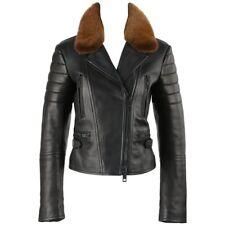 BURBERRY Prorsum Pre-fall 2013 Black Lambskin Leather & Mink Motorcycle Jacket