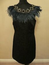 💜 Monsoon 💜 Black Fitted Evening Dress with Green Feather Detail Size 10 38