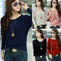Women Loose Batwing Sleeve Tops Shirt Knitwear Pullover Jumper Sweater Style Hot