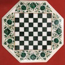 "18"" marble chess game Table Top pietra dura art handcrafted inlay work"