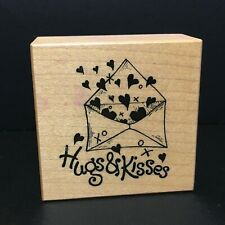 "PSX Hugs & Kisses Wood Mounted Rubber Stamp Made In USA 2""x2"" Unused"
