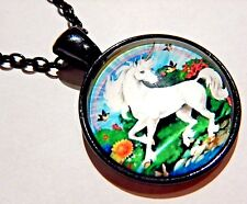 RETRO UNICORN & RAINBOW DESIGN PENDANT glass cab black chain 80s necklace new 3G