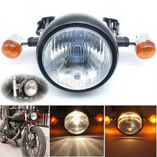 Retro Motorcycle LED Head Light Turn Signal Mount For Cafe Racer Bobber Chopper