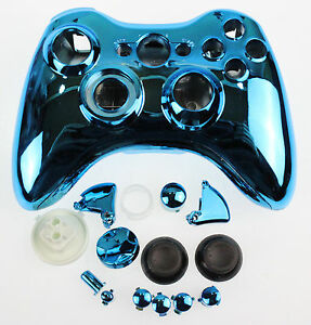 Replacement Custom Chrome Blue Xbox 360 Controller Shell Case