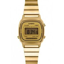 Casio Ladies Retro Style Gold Face Bracelet Watch Digital Alarm LA670WGA-9DF