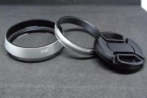 Metal Lens Hood + Adapter + Cap for Fujifilm X100 X100S X100T LH-X100 AR-X100 S