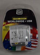 Plug Travel Adaptor +USB Go Travel Worldwide 190 Country Connectivity