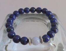 Lapis Lazuli Blue Lace Agate 8mm Grade AA Gemstone Bracelet Healing Yoga