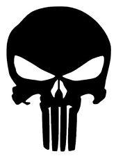 "4""x3"" Black Punisher Skull Car Window Truck Vinyl Decal Sticker Label"