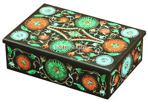 """6""""x4""""x2"""" Belgium Black Marble Jewelry Storage Box Micro Mosaic Inlaid Gift H2235"""
