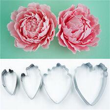 4PCS Floral Petal Mould Cutter Fondant Cake Decoration Gum paste Peony Mold Tool