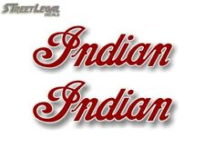 """2 INDIAN SCRIPT Red w/White Outline 2""""x 6.5"""" Decals Motorcycle Gas Tank Stickers"""