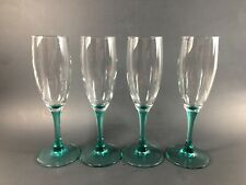 Set of 4 Clear Champagne Flutes with Blue/Green~ Teal~ Stems