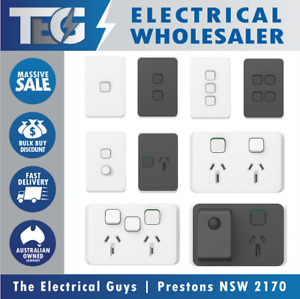 Clipsal Iconic Light Switch Power Point GPO Dimmer Vivid White & Anthracite