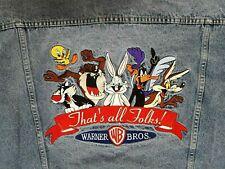 VINTAGE WARNER BROS LOONEY TUNES THAT'S ALL FOLKS TRUCKER DENIM JACKET XL