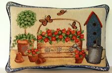 Spring Collection w/ Birdhouse, Flowers, Butterflies, Pots Tapestry Pillow New!