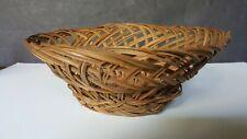 "Vintage Handmade Woven Wicker Rattan Reed Basket 8 -1/2"" Round"