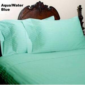 Queen Aqua Green Stripe 4 Piece Sheet Set 1000 Thread Count 100% Egyptian Cotton