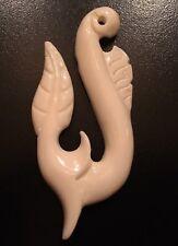 Carved Bone Pendant - Maori-Style Hook and Leaf