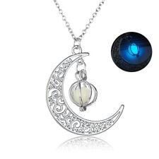 Fashion Women Hollow Moon Noctilucent Luminous Stone Pendant Necklace Jewelry