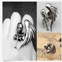 Modish Vintage Rock Gothic Cool Skull Wing Cross Adjustable Finger Ring FK