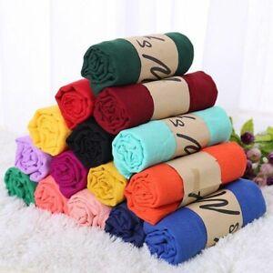 180CM Baumwolle Leinen Knitter Wolken Hijab Schal Weich Islam Muslim Prese #/