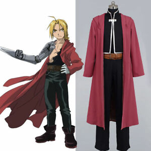 Fullmetal Alchemist Edward Elric Cosplay Red Coat Cape Black Suit Jacket Costume
