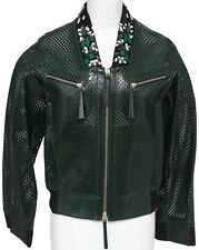 MARNI Jacket Patent Leather Perforated Emerald Green Bomber Coat Floral Sz 38 BN