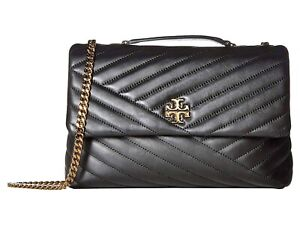 Tory Burch Kira Chevron Convertible Shoulder Bag w/Chain Crossbody Strap - Black