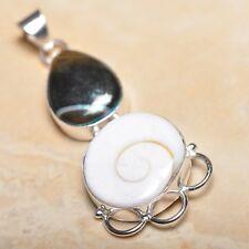 "Handmade Shiva Eye Shell Gemstone Pure 925 Sterling Silver Pendant 2.5"" #P14291"