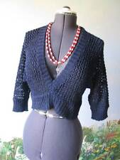 Pout True Navy Crochet Short Sweater Top Blouse New Size Large