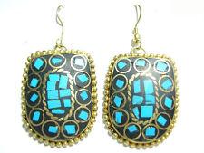 Pair Delicate Tibetan Turquoise Gemstone Inlay Brass Pendant Amulet Earrings