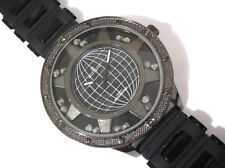Iced Out Bling Bling Big Case Rubber Band Globe Dial Men's Watch Black Item 6132