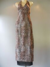 Leopard Halter 1990s Dress Gown Retro Disco Rockabilly Formal Maxi Party Prom