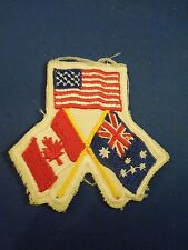 Vintage International Flags US UK Canada Embroidered Iron On Patch