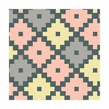 Emilia Geometric Tile Coral Yellow Taupe/Gray By The yard Cotton Print Cosmo