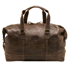 Rowallan - Brown Distressed Leather Brushwood Travel Bag/Holdall with Strap