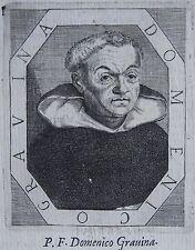 P .F. DOMENICO GRAVINA. Portrait, gravure 17 ème, texte au dos. Dimensions : 100