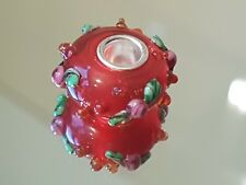 RED GARLAND - Murano Glass Silver Plated Core Charm Bead