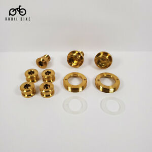 Titanium Crankarm and Chainrings Ti Bolts and Nuts for Brompton - Gold